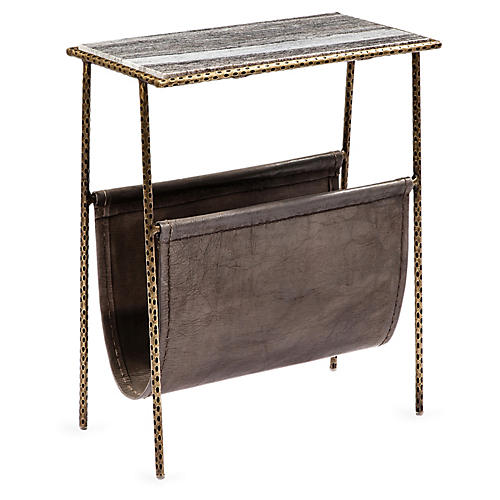 Strass Side Table, Antiqued Brass