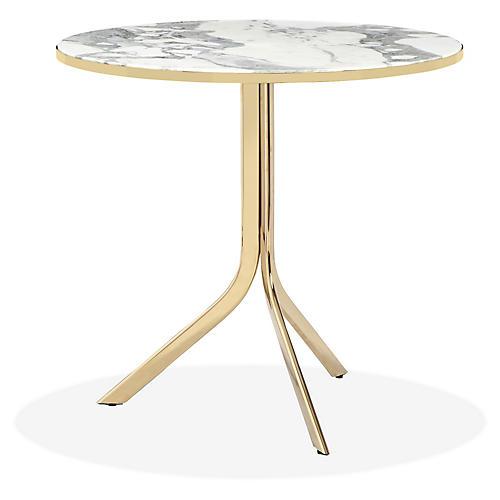 Carina Bistro Table, White/Brass