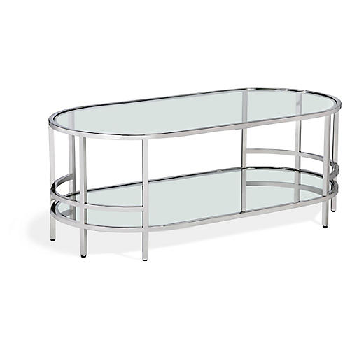 Hayden Coffee Table, Clear/Nickel
