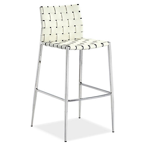 Logan Barstool, White Leather
