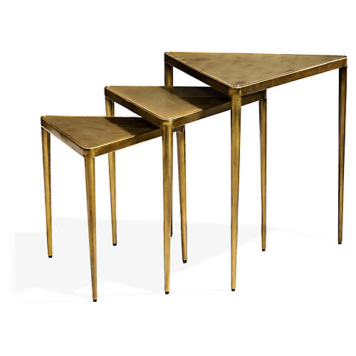 S/3 Jasmine Nesting Tables, Gold/Clear