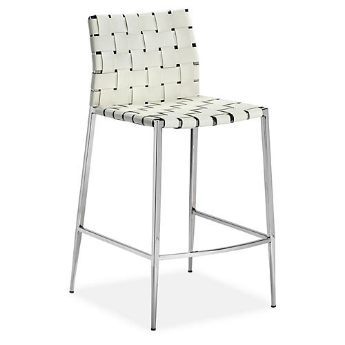 Logan Counter Stool, White Leather