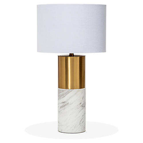 Anderson Table Lamp, White/Bronze