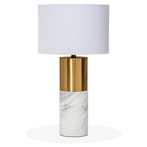 Anderson Table Lamp, White/Bronze