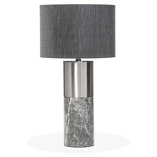 Anderson Table Lamp, Gray/Nickel