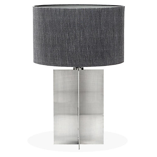 Tristan Table Lamp, Gray/Brushed Nickel