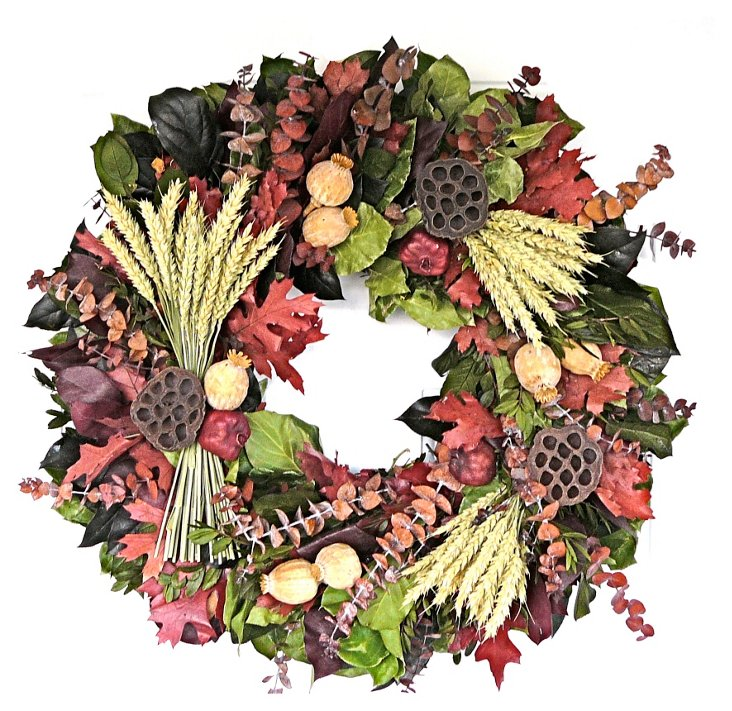 """22"""" Harvest Lotus Wreath, Dried"""