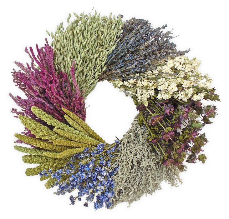 """20"""" Meadow Wheel Wreath, Dried"""