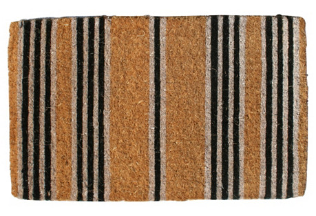 Stripes Outdoor Mat, Brown/Black