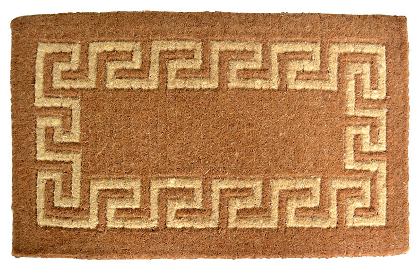 Greek Key Outdoor Mat, Brown
