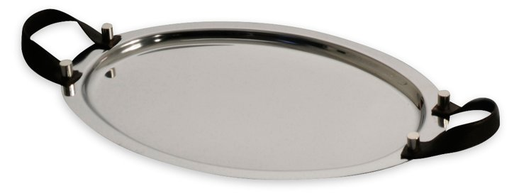Oval Tray w/ Leather, Chocolate