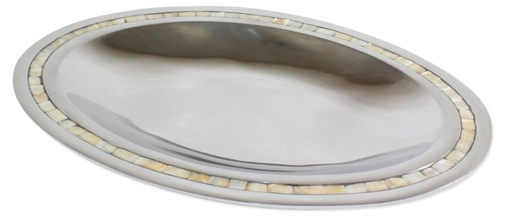 "18"" Oval Tray w/ MOP Border"