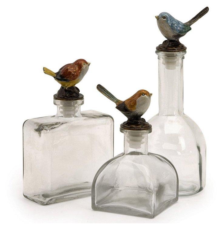 Asst. of 3 Glass Bird-Finial Bottles