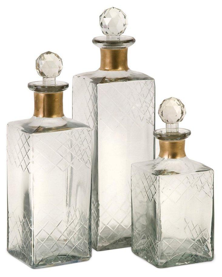 Asst. of 3 Hampshire Etched Bottles