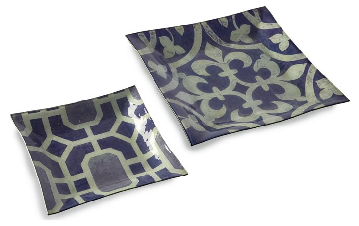 S/2 Asst. Amethyst Square Glass Plates