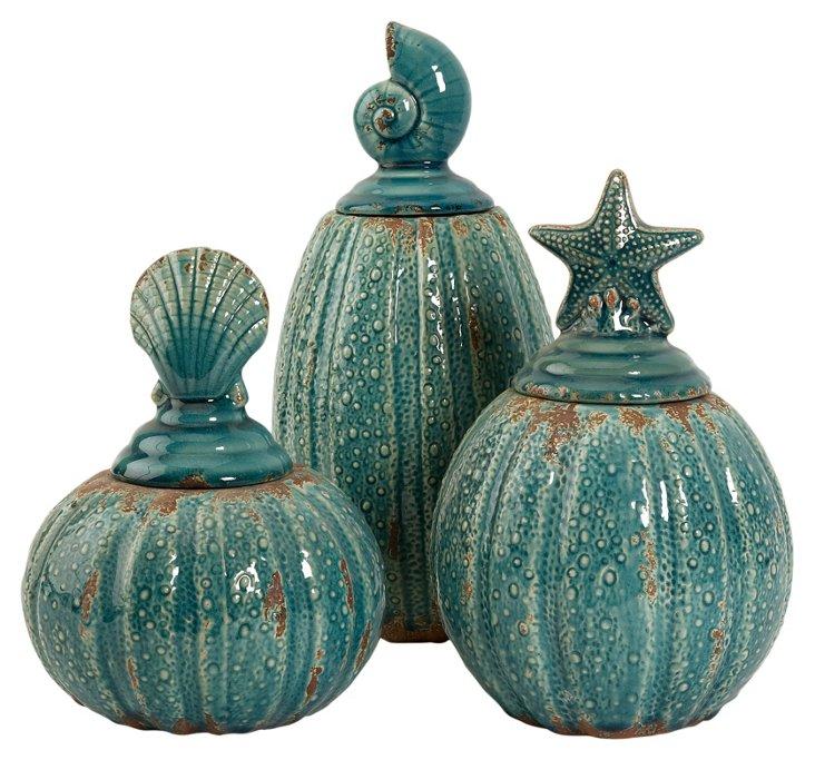 Pearson Jars w/ Shell Lids, Asst. of 3