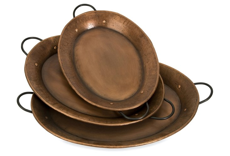 Tauba Copper-Plated Trays, Asst. of 3
