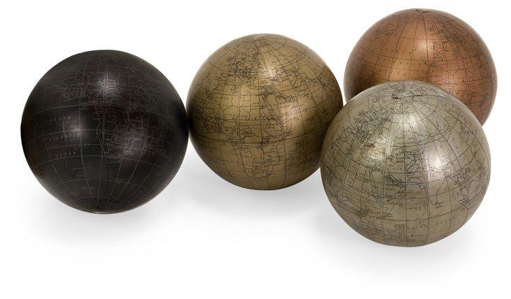 Asst. of 4 Globe Spheres w/ Maps