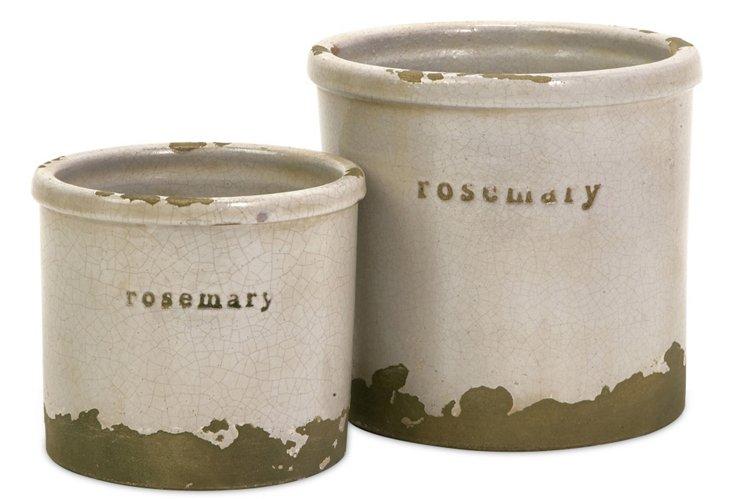 S/2 Rosemary Herb Pots