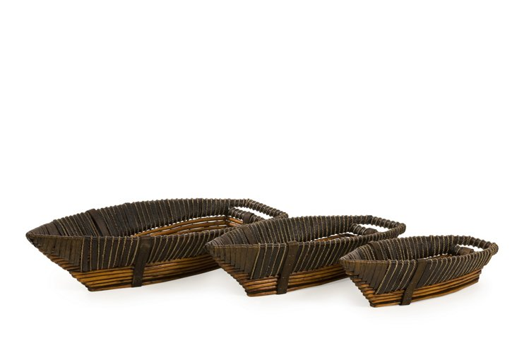 Asst. of 3 Willow Boat Trays, Brown