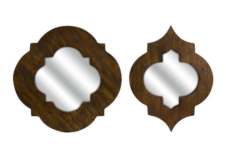 Cronus Wood Frame Mirrors Set