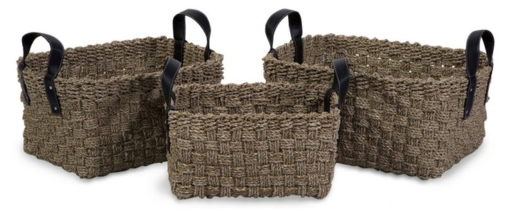 S/3 Natural Seagrass Baskets