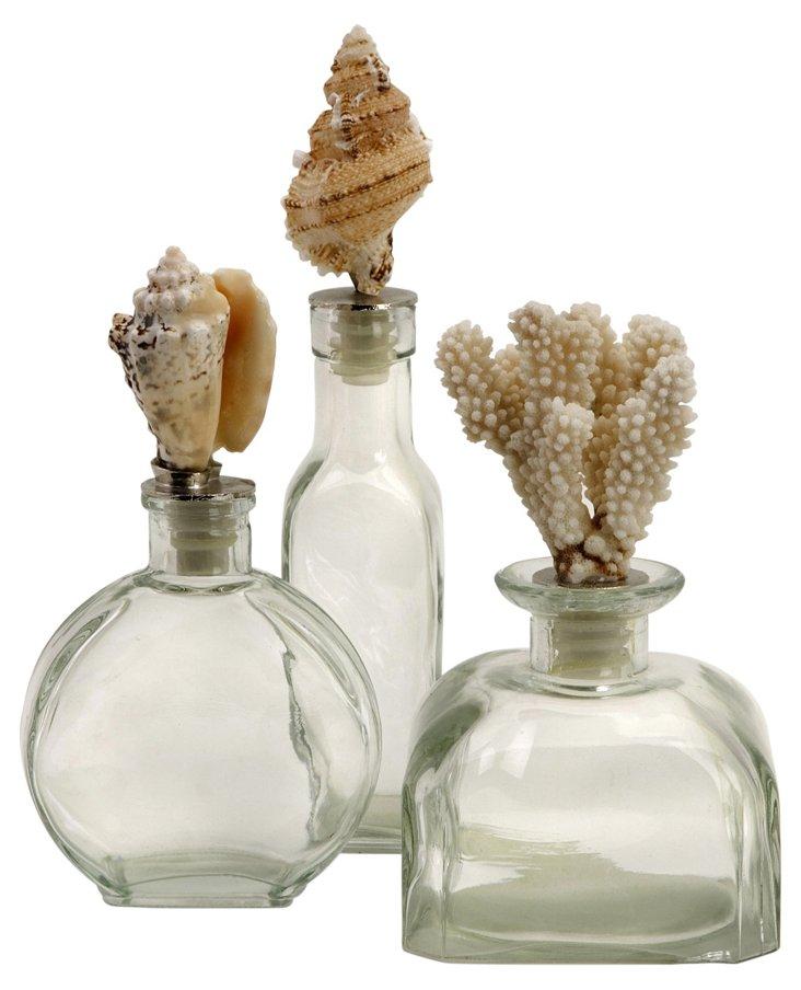 Shell-Stopper Glass Bottles, Asst. of 3