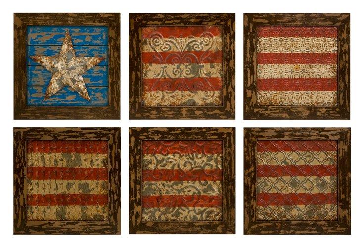 S/6 American Flag Wall Decor