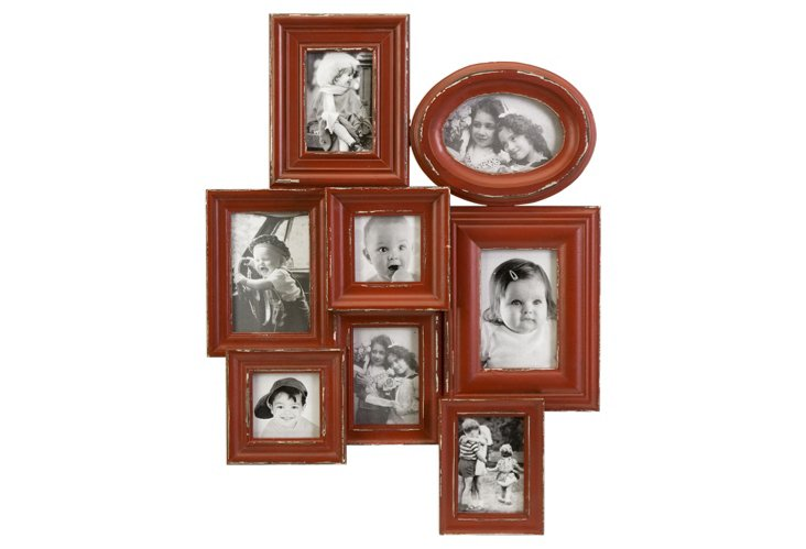8-Photo Collage Frame, Red