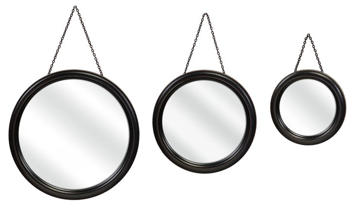 Round Hanging Mirrors, Asst. of 3