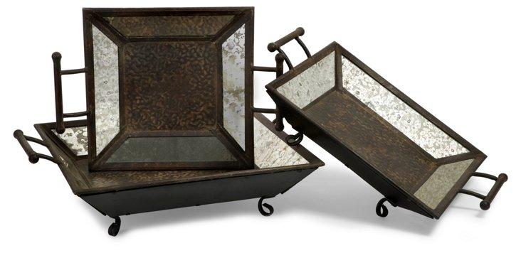 S/3 Weathered Mirror Trays