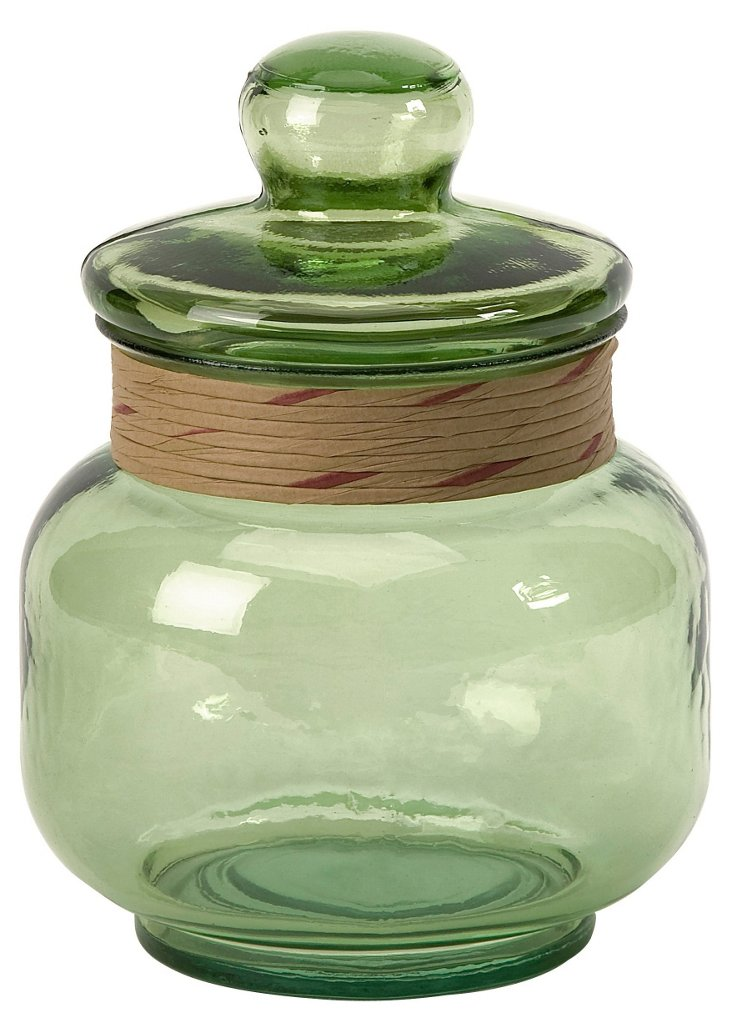 "11"" Recycled Glass Canister, Green"