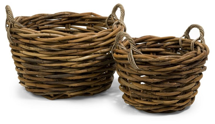 Asst. of 2 Oversize Rattan Baskets