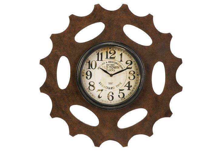 Rusted Gear Wall Clock