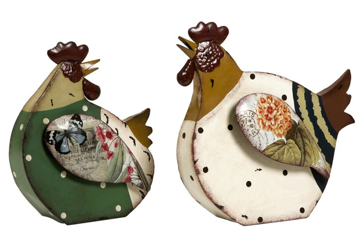 S/2 Folkart Roosters