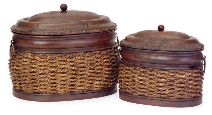 Rattan Lidded Boxes, Asst. of 2