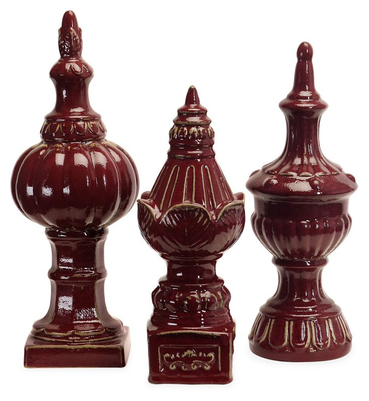 Set of 3 Red Finials