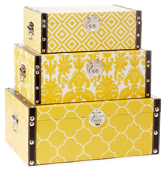 Yellow Design Storage Boxes, Asst. of 3