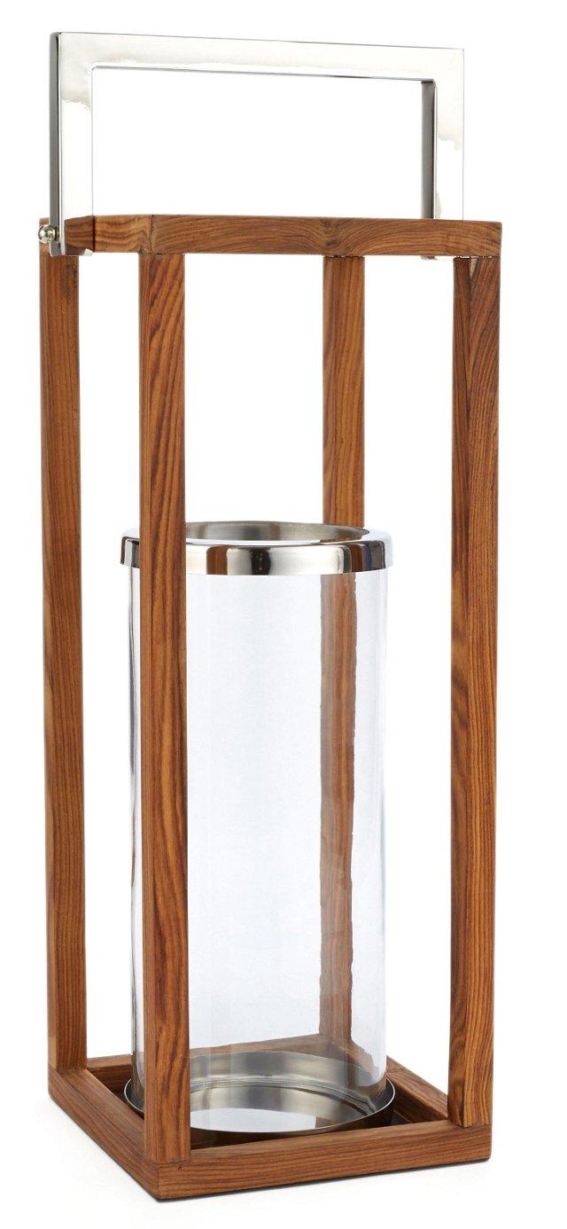 "21"" Wooden Frame Lantern"
