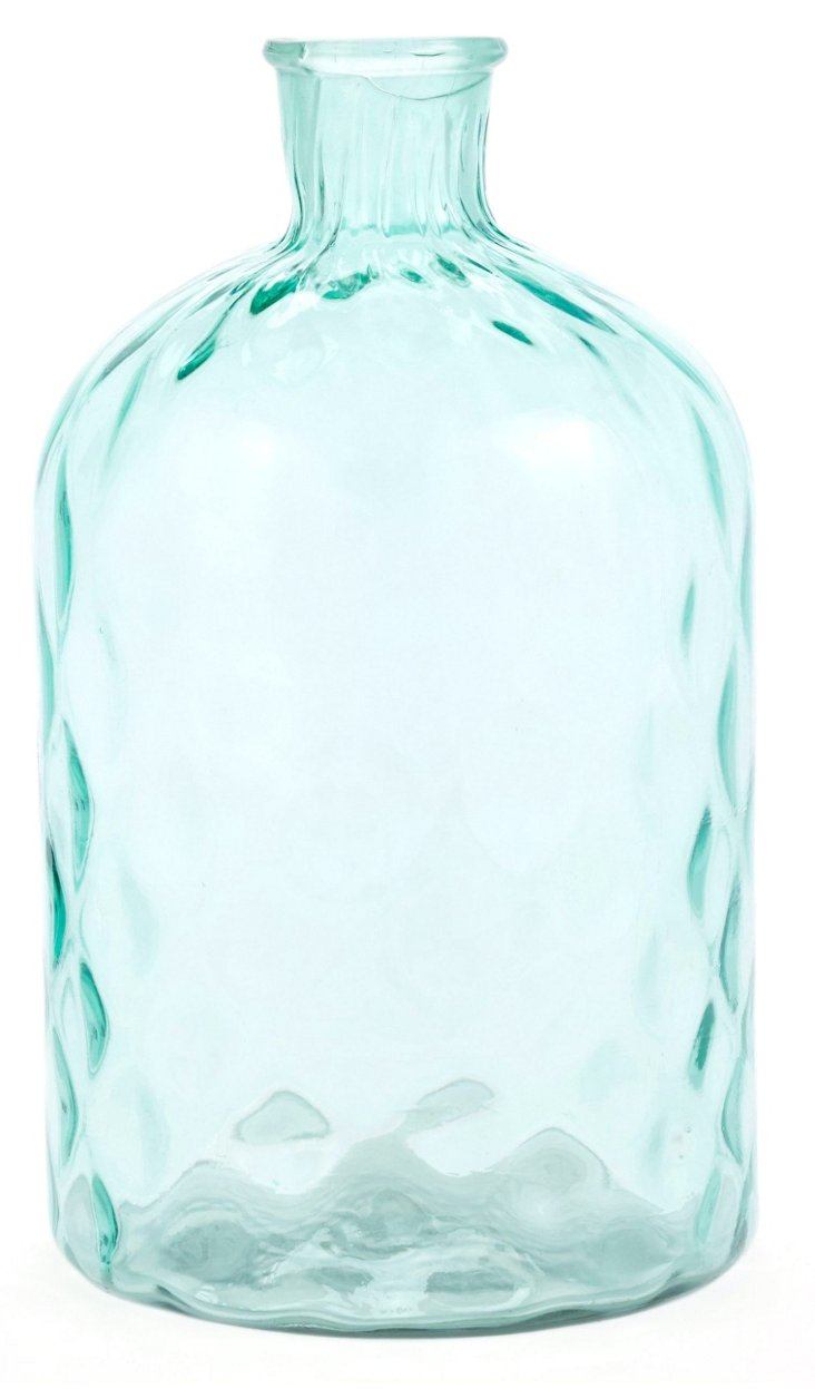 "12"" Hammered-Glass Vase, Light Green"