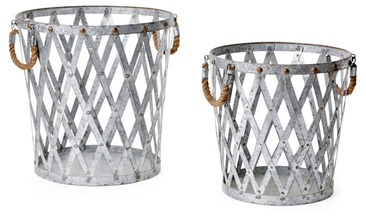 Baskets w/ Rope Handles, Asst. of 2