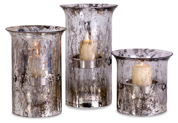 Silvered Glass Candleholders, Asst. of 3