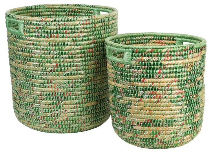 Green Woven Baskets, Asst. of 2