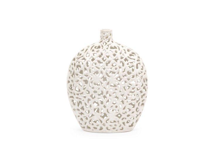 "13"" Lacey Vase, White"