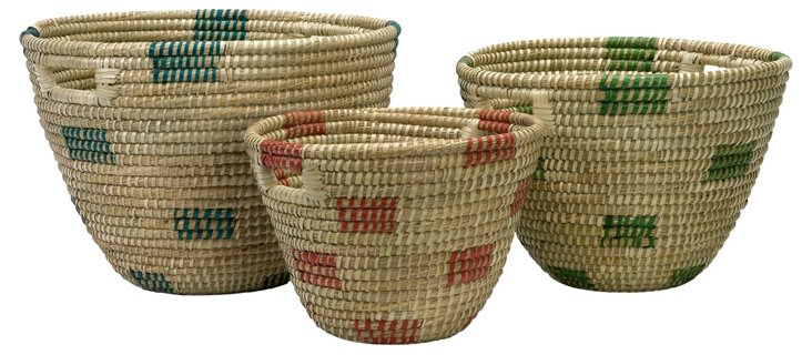 3 Asst. Dunn Sea-Grass Catchall Baskets