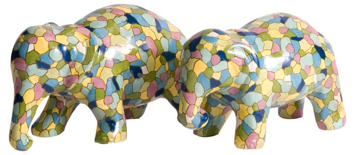 Asst. of 2 Gervaiso Painted Elephants