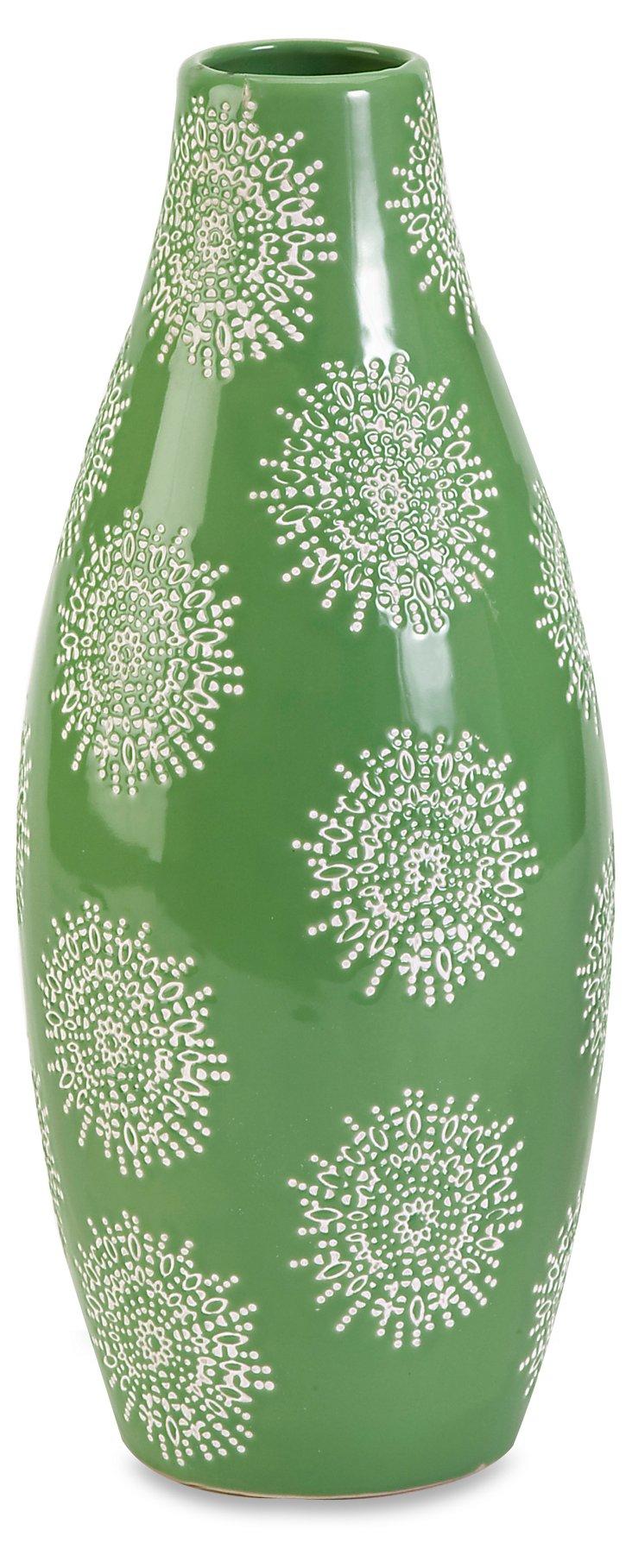 """14"""" Essentials Green Vase"""