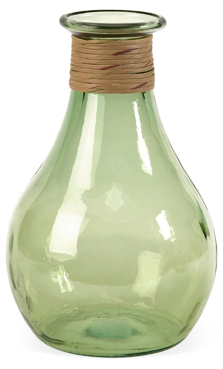 "12"" Angelico Recycled-Glass Vase, Green"