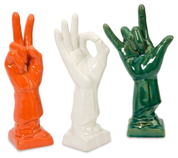 Cohen Ceramic Hands, Asst. of 3