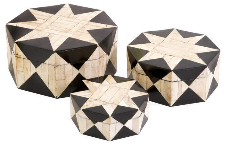 Asst. of 3 Lanta Bone-Inlay Boxes, Ivory
